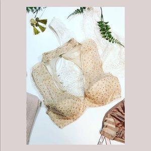 Victoria's Secret rose gold sparkle star bra small